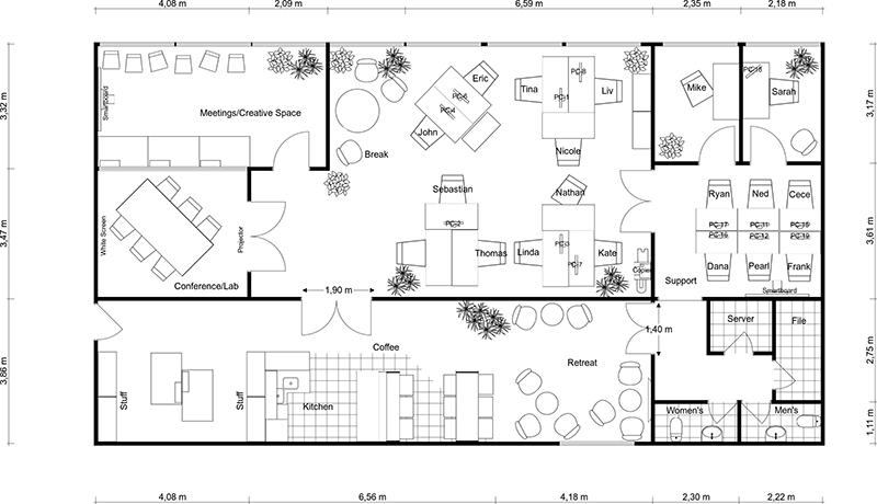 Office building floor plan black & white clipart graphic black and white Office Floor Plans | RoomSketcher graphic black and white