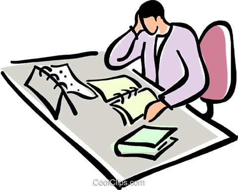 Office clerk clipart jpg transparent library office clerk working at his desk Royalty Free Vector Clip Art ... jpg transparent library