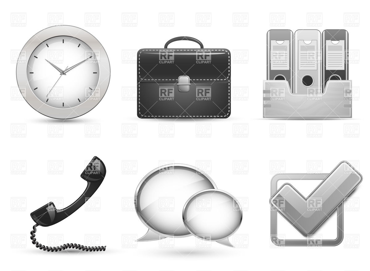 Office clipart site jpg freeuse Office objects icons for business web site Vector Image #5484 ... jpg freeuse
