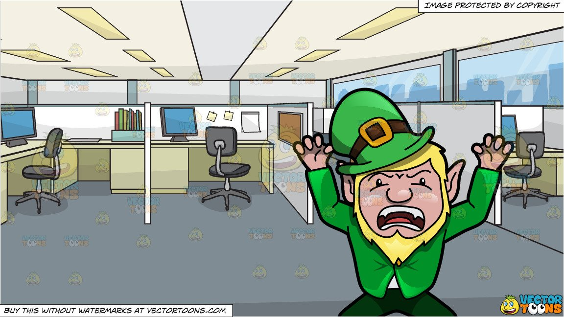 Office cubicles clipart banner library stock A Leprechaun Acting Up To Scare People and Office Cubicles Background banner library stock