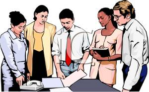 Office staff clipart graphic black and white Office Staff Having a Meeting - Royalty Free Clipart Picture graphic black and white