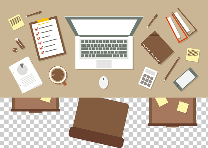 Office table top view clipart black and white library Workspace Illustration, top view of the table, white laptop ... black and white library