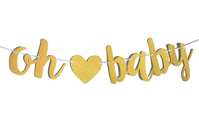 Oh baby clipart svg library download FECEDY Gold Glittery Letters OH Baby with Heart Banner for Baby Shower svg library download