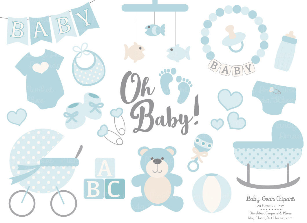 Oh baby clipart clipart library library Oh Baby Clipart & Vectors Set in Soft Blue By Amanda Ilkov ... clipart library library