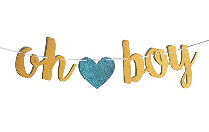 Oh boy clipart svg freeuse download FECEDY Gold Glittery OH BOY Banner with Heart for Baby Shower svg freeuse download