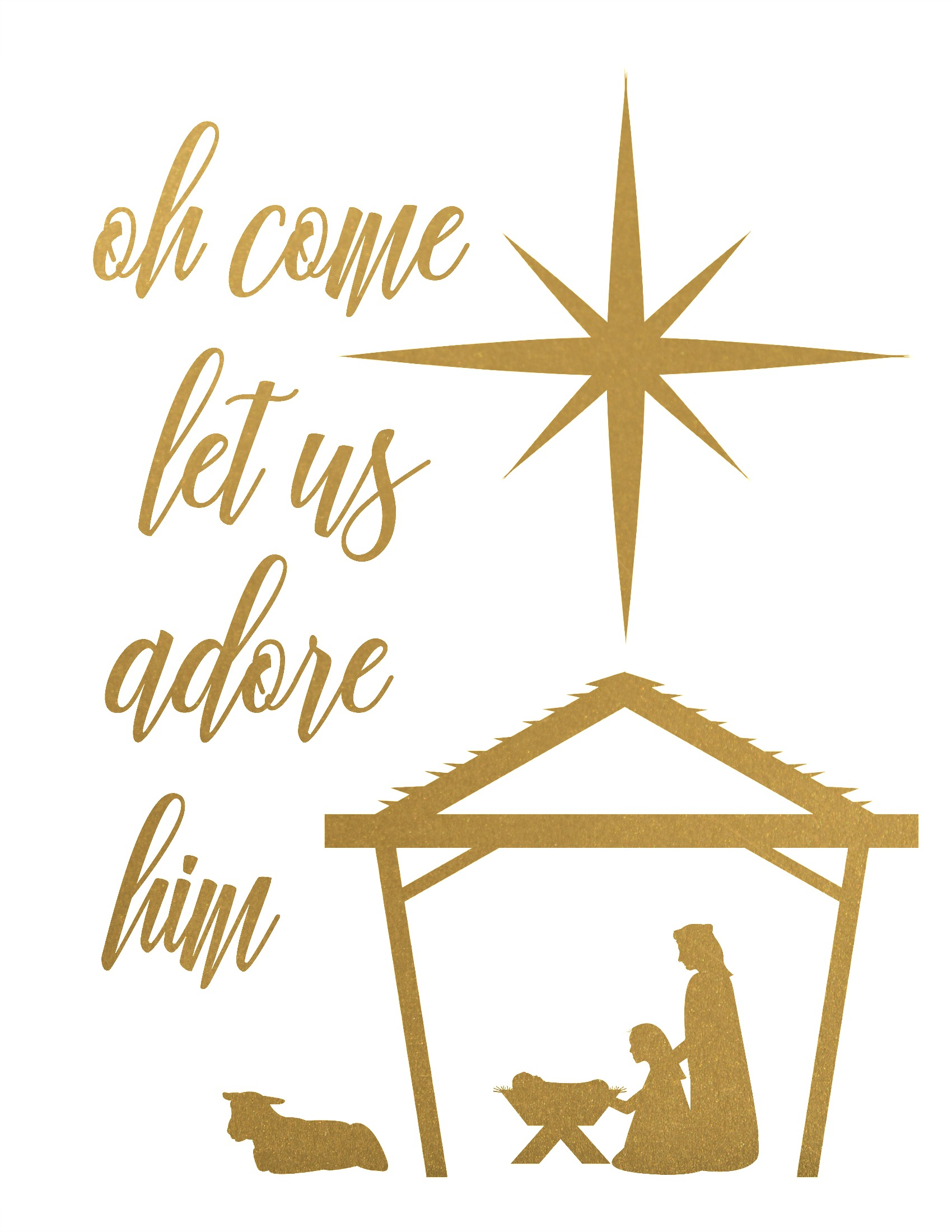 Oh come let us adore him clipart image black and white download Oh Come Let Us Adore Him Free Christmas Nativity Printable (in 4 ... image black and white download