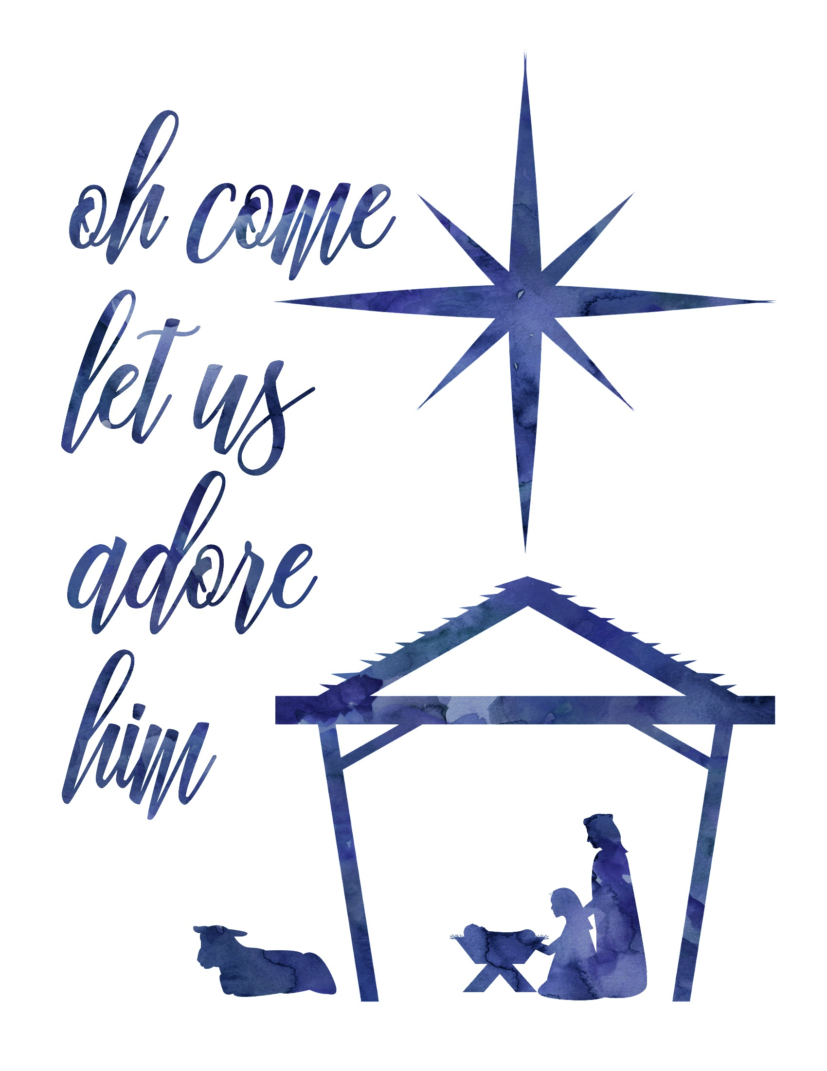 Oh come let us adore him clipart graphic download Oh Come Let Us Adore Him Free Christmas Nativity Printable (in 4 ... graphic download