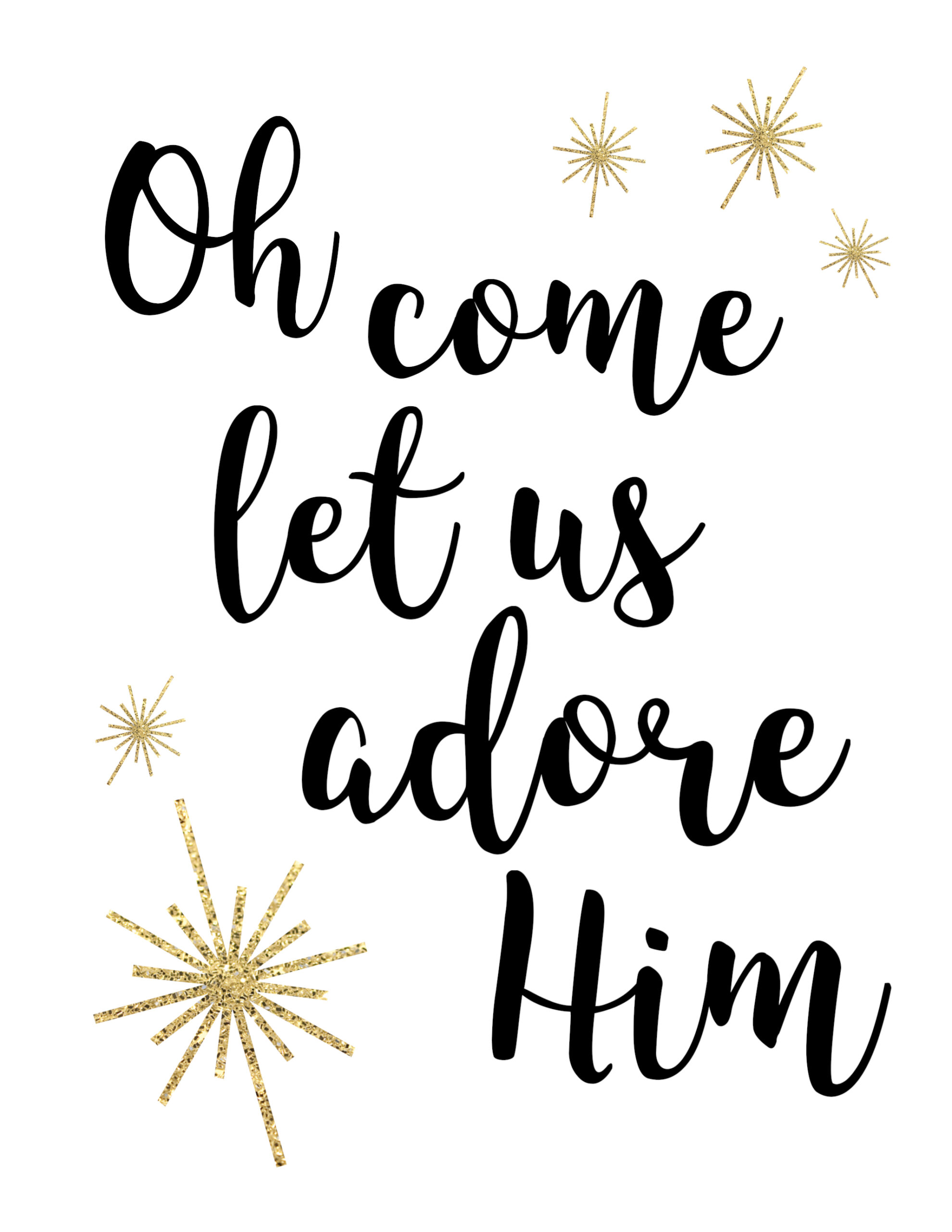Oh come let us adore him clipart graphic free download Oh Come Let Us Adore Him Printable Christmas Decor - Paper Trail Design graphic free download