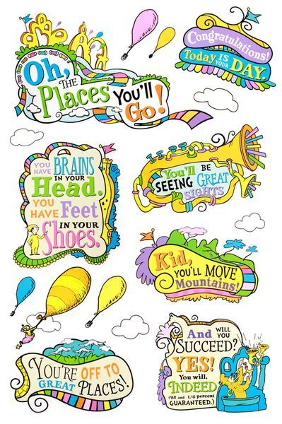 Oh the places you ll go graduation clipart vector library stock Eureka, Dr. Seuss Oh, the Places You\'ll Go! Bulletin Board Set, 27 ... vector library stock