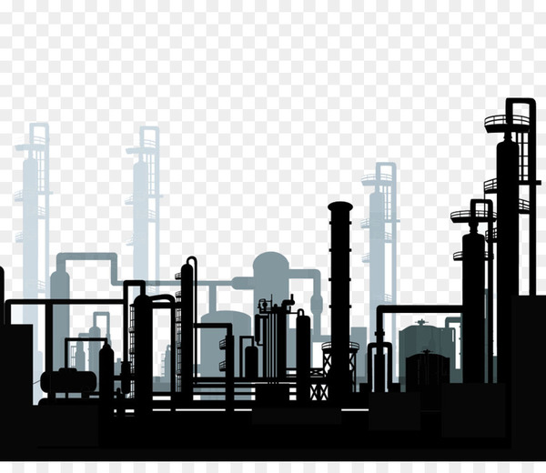 Oil and gas industry clipart vector black and white stock Oil refinery Petroleum industry Clip art - Refinery Silhouette - Nohat vector black and white stock