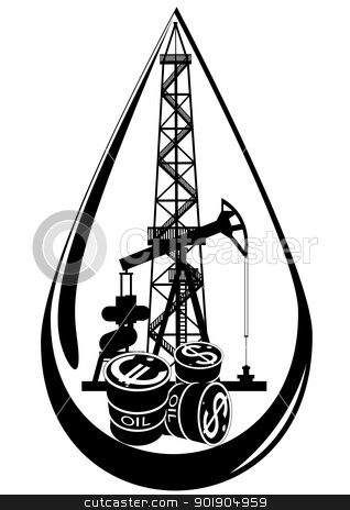 Oil derrick clipart logo black and white with flame