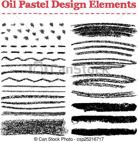 Oil pastel clipart graphic freeuse download Vector Clip Art of Set of oil pastel brush strokes and design ... graphic freeuse download