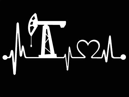 Oilfield pump her till she squirts clipart black and white Bluegrass Decals K1015 Oilfield Heartbeat Love Lifeline Monitor Decal  Sticker black and white