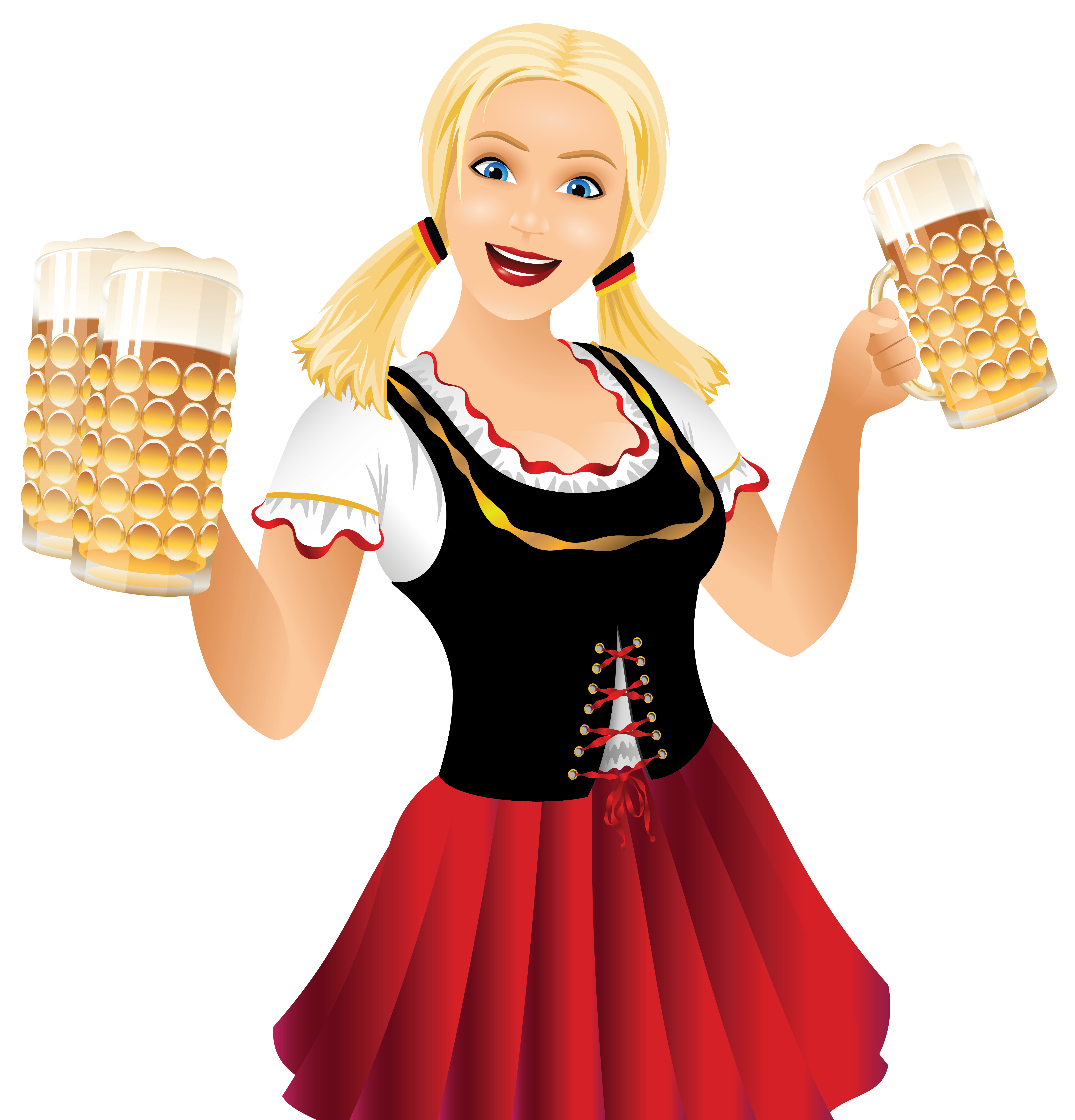 Oktoberfest clipart png picture Oktoberfest Girl with Beer Mugs PNG Clipart Picture | Gallery ... picture