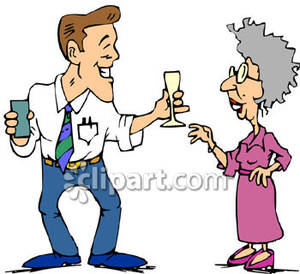 Old and young clipart image royalty free download Young Man Flirting with an Old Woman - Royalty Free Clipart Picture image royalty free download