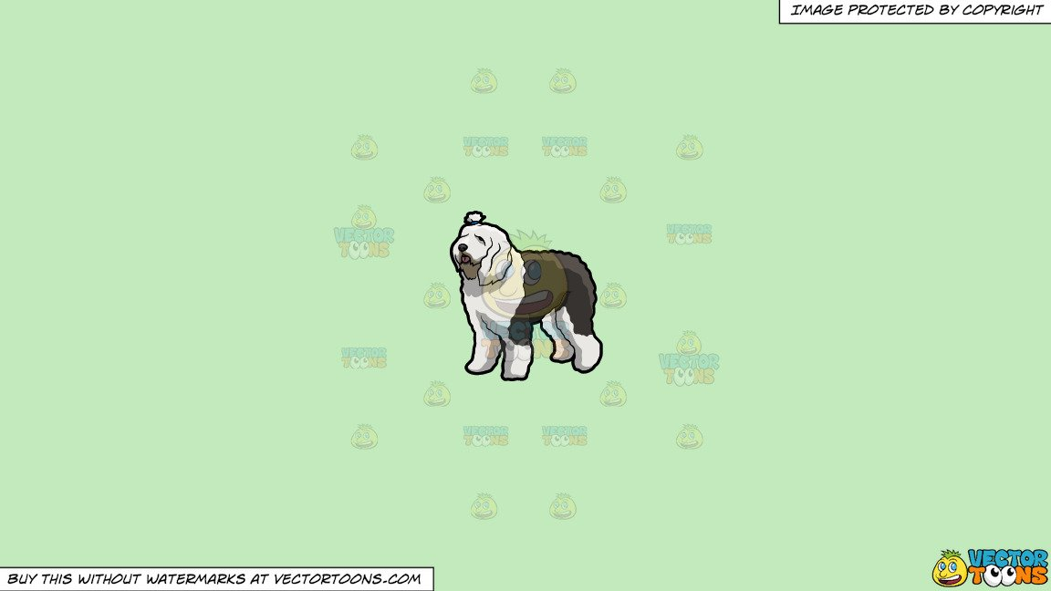 Old english sheepdog clipart banner royalty free stock Clipart: A Cute Chubby Old English Sheepdog on a Solid Tea Green C2Eabd  Background banner royalty free stock