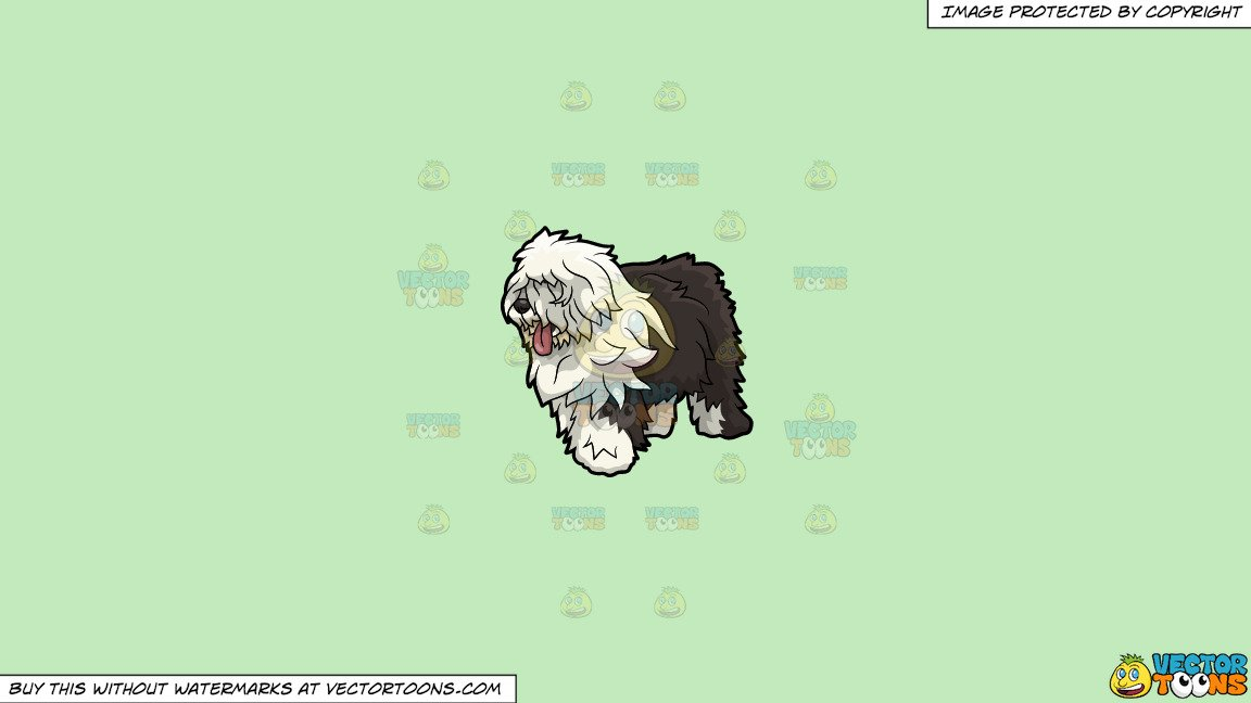 Old english sheepdog clipart banner freeuse Clipart: An Old English Sheepdog Dog on a Solid Tea Green C2Eabd Background banner freeuse