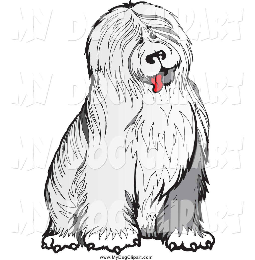 Old english sheepdog clipart graphic royalty free stock Clip Art of a Shaggy Old English Sheepdog Sitting by Snowy - #1028 graphic royalty free stock