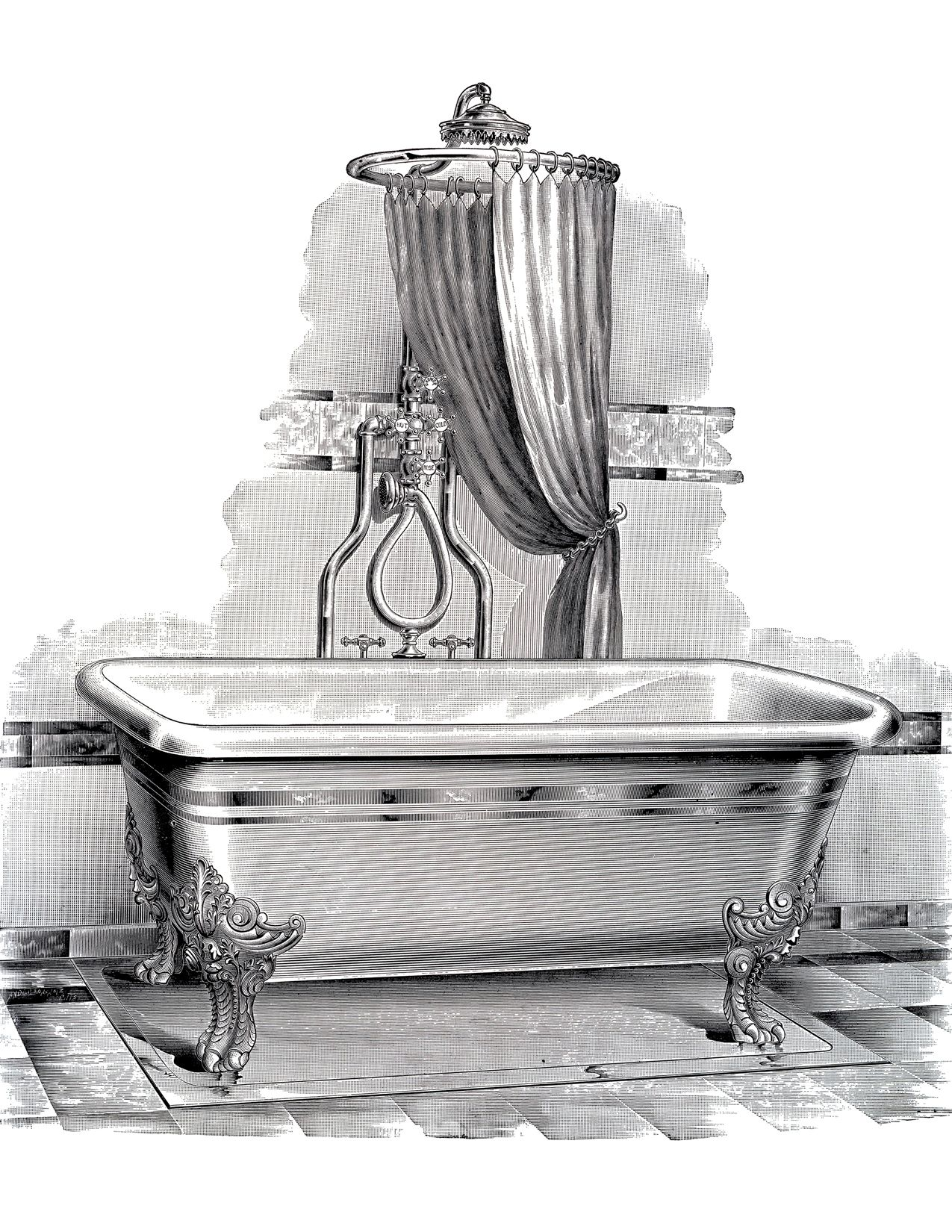 Old fashioned bathtub clipart png library Antique Bathtub Picture - Free Printable | Printables: ClipArt ... png library