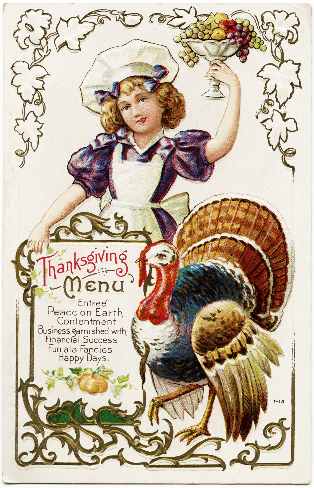 Old fashioned thanksgiving clipart clip art freeuse download Free Vintage Thanksgiving Menu Postcard - Old Design Shop Blog clip art freeuse download