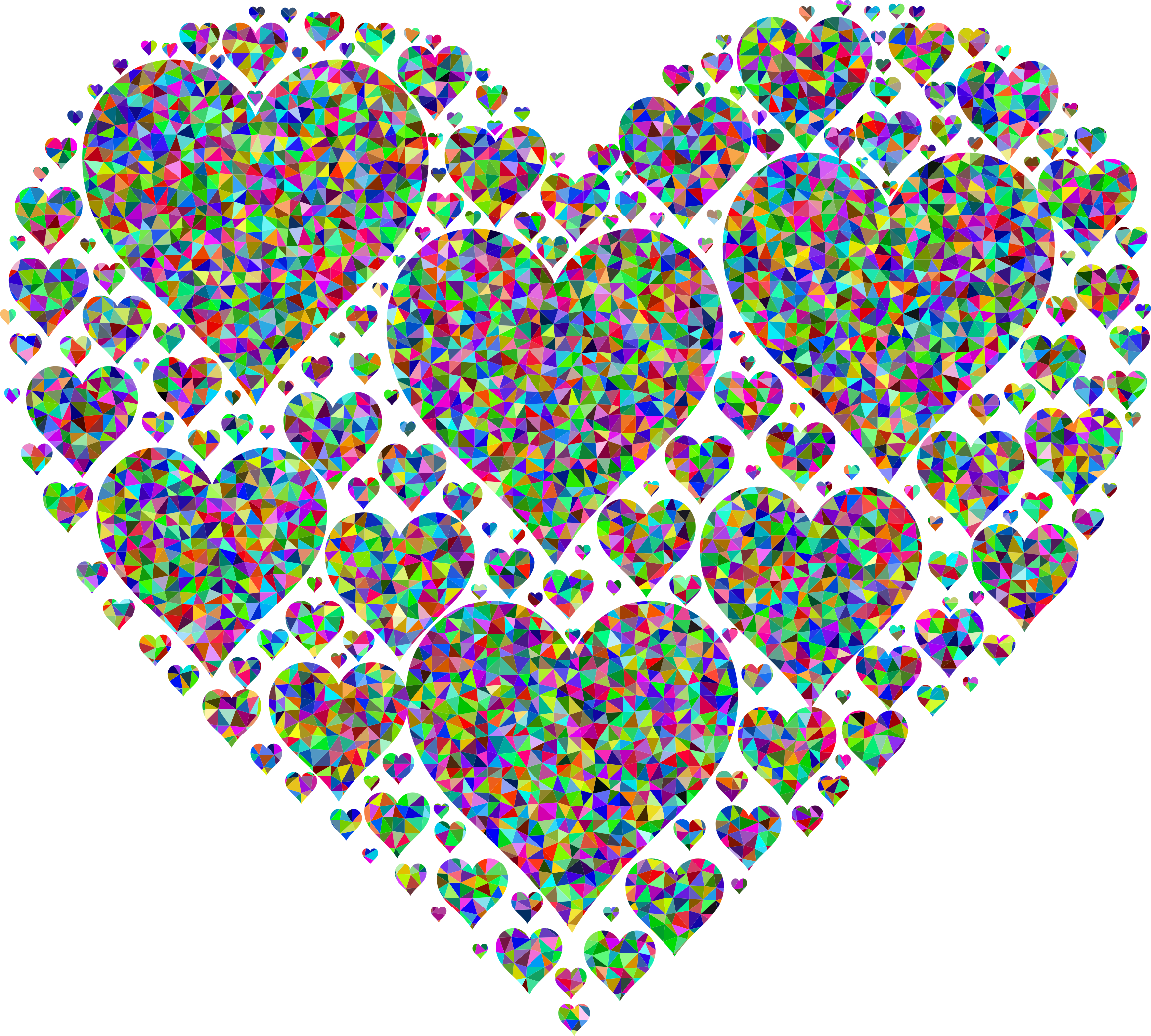 Old heart clipart svg library stock Clipart - Prismatic Low Poly Hearts In Heart Higher Detail svg library stock