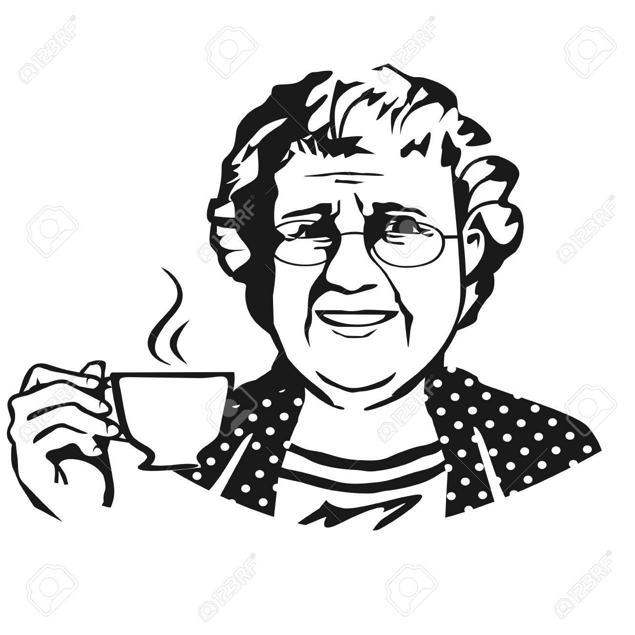 Old lady with hat black and white clipart image free Old lady clipart black and white 8 » Clipart Portal image free