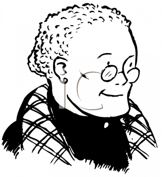 Old lady with hat black and white clipart