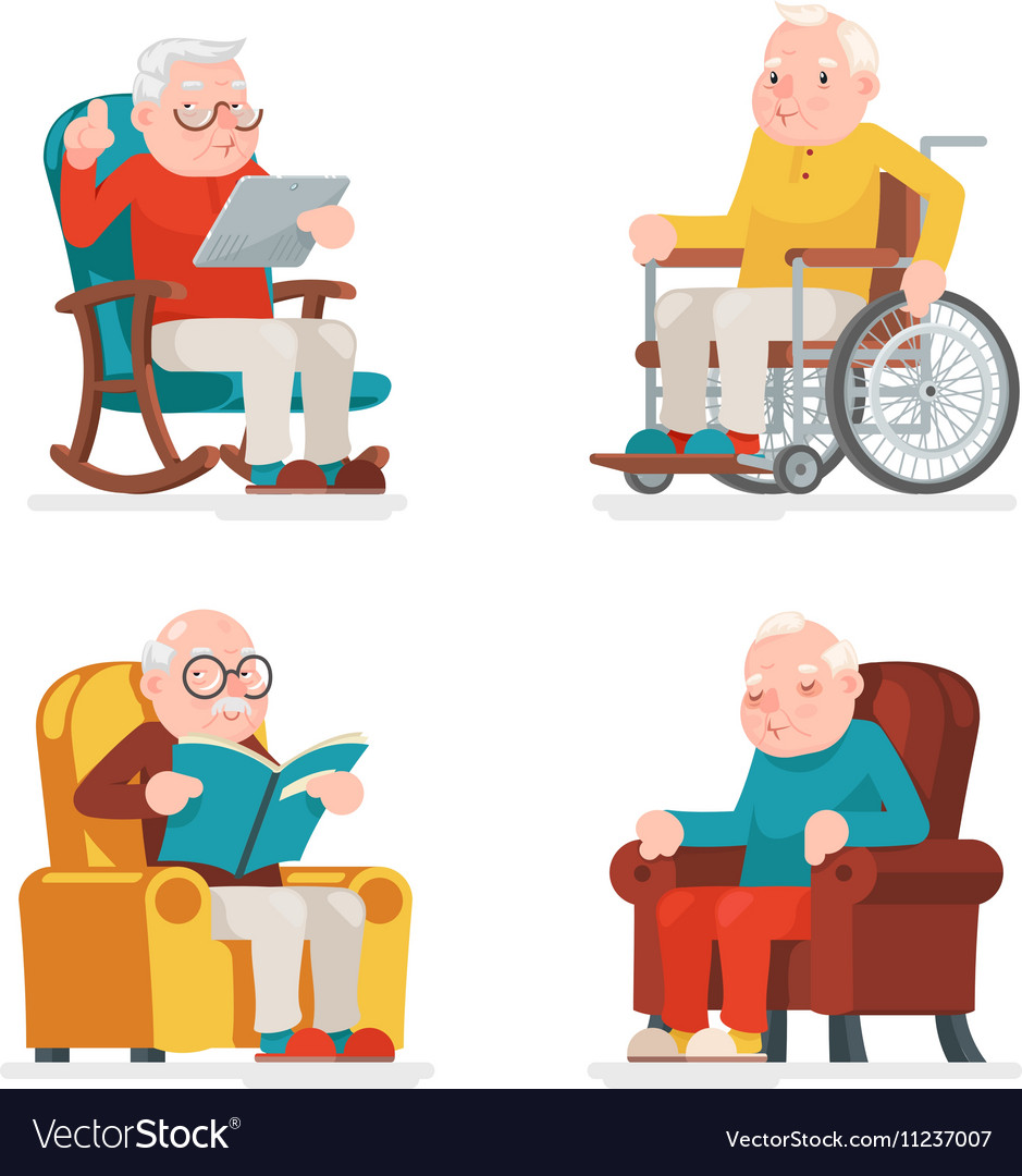 Old man in chair clipart svg freeuse Old Man Characters Sit Sleep Web Surfing Read svg freeuse