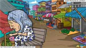 Old market clipart vector royalty free An Old Homeless Woman and A Rural Street Market Background vector royalty free