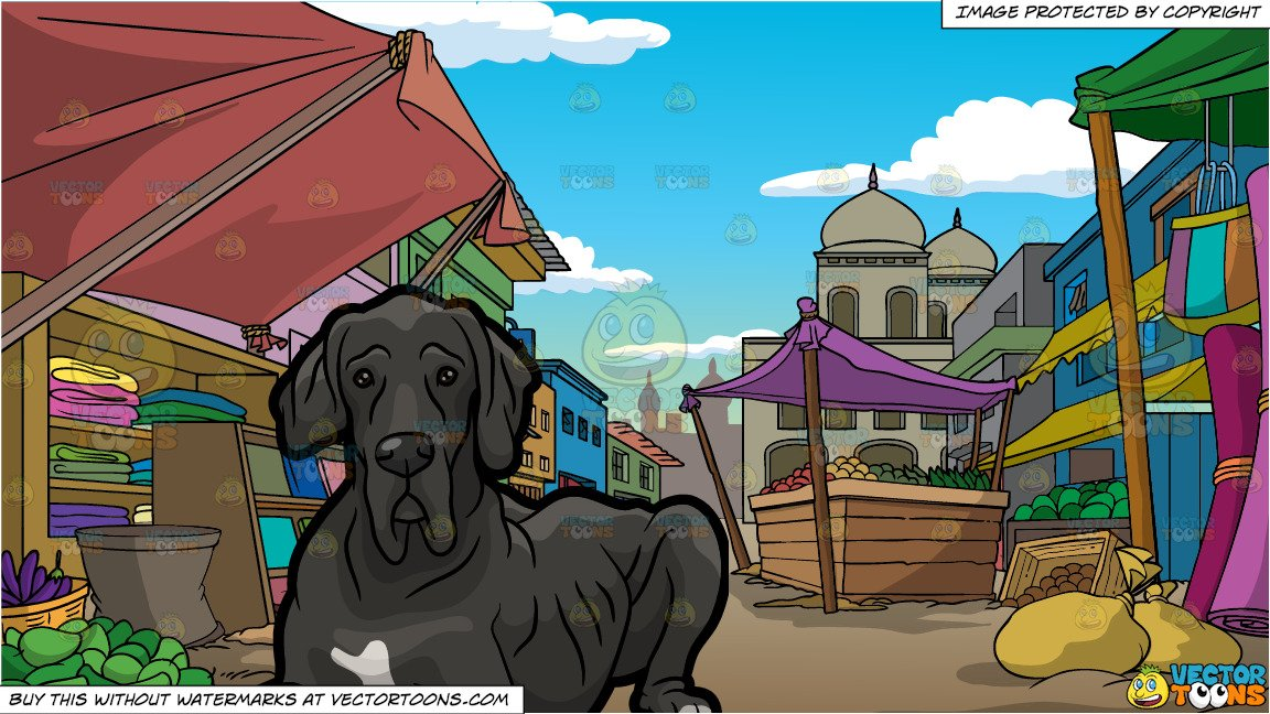 Old market clipart svg freeuse stock An Old Great Dane and An Indian Street Market svg freeuse stock