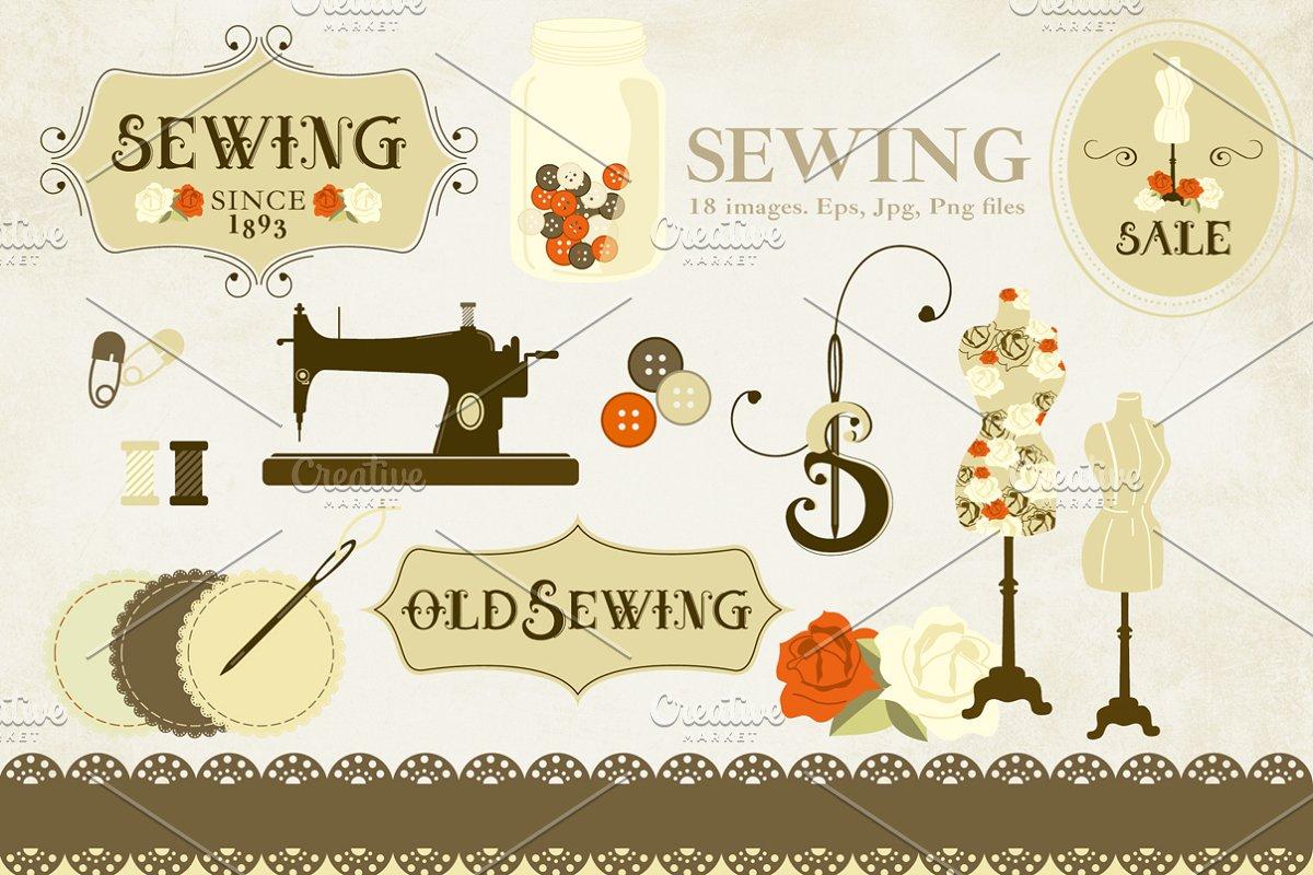 Old market clipart svg transparent Sewing Clipart. Old Style. svg transparent