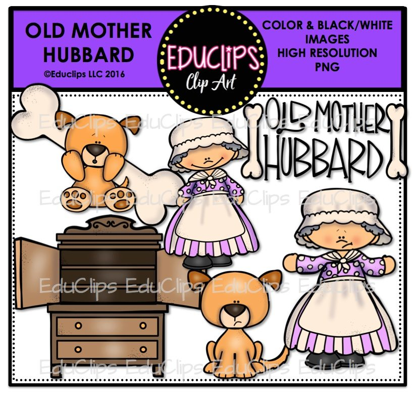Old mother hubbard clipart graphic black and white Old Mother Hubbard Nursery Rhyme Clip Art Bundle graphic black and white