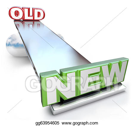 Old scale clipart for good and bad freeuse library Stock Illustration - Old versus new balance on see-saw scale ... freeuse library
