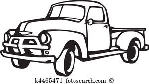 Old truck black and white clipart image stock Image result for pick up truck clip art in black and white ... image stock
