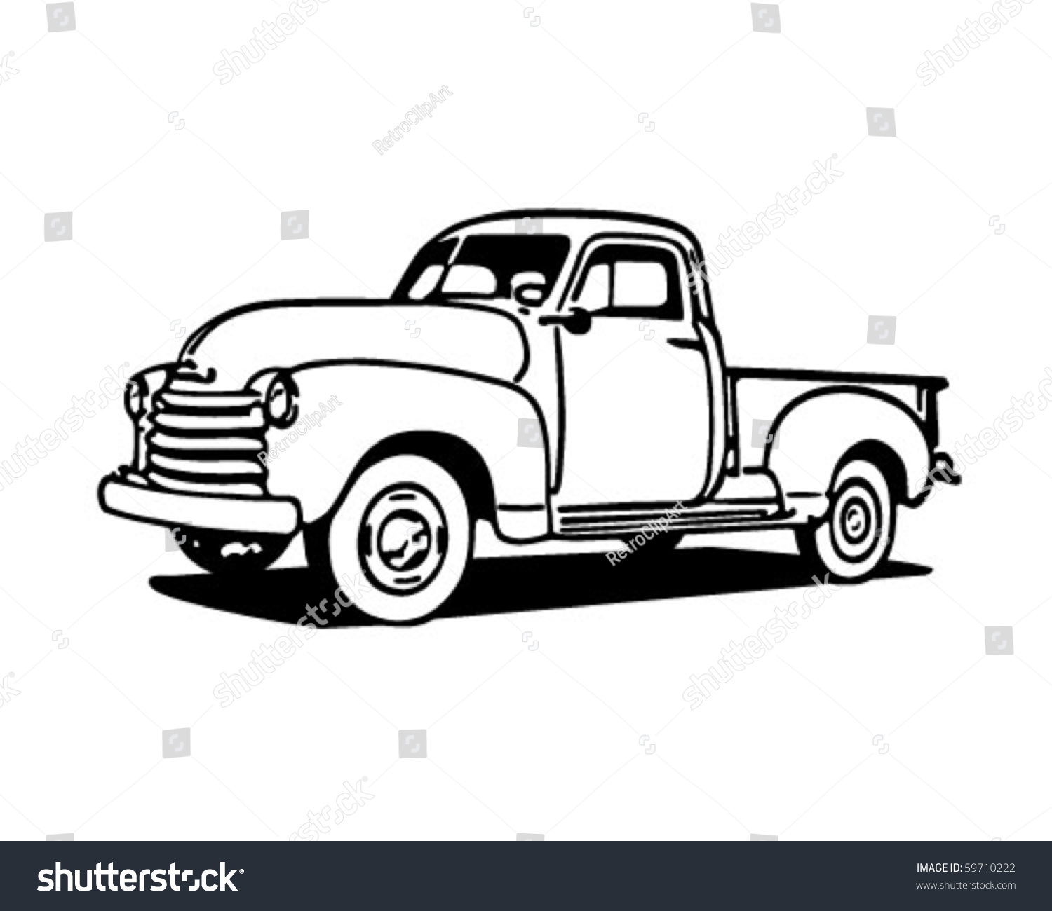 Old truck black and white clipart vector royalty free download Pickup Truck Retro Clip Art Stock Vector Illustration - Free ... vector royalty free download