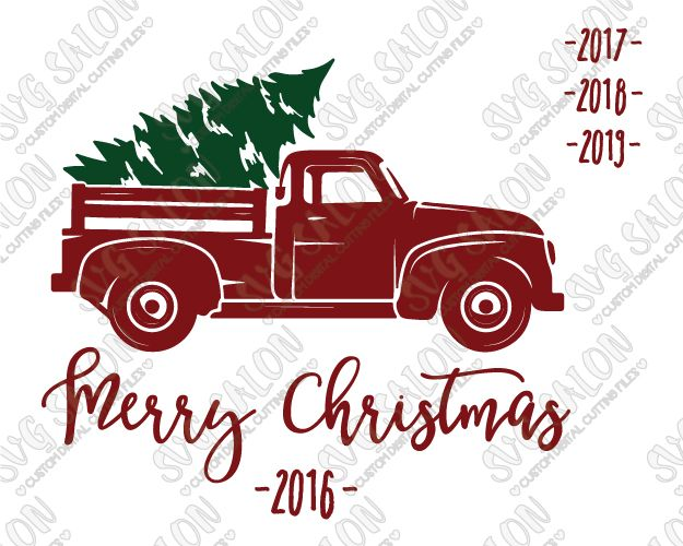 Old truck with christmas tree in back clipart png svg transparent library Merry Christmas Vintage Red Truck SVG Cut File Set | Cricut ... svg transparent library