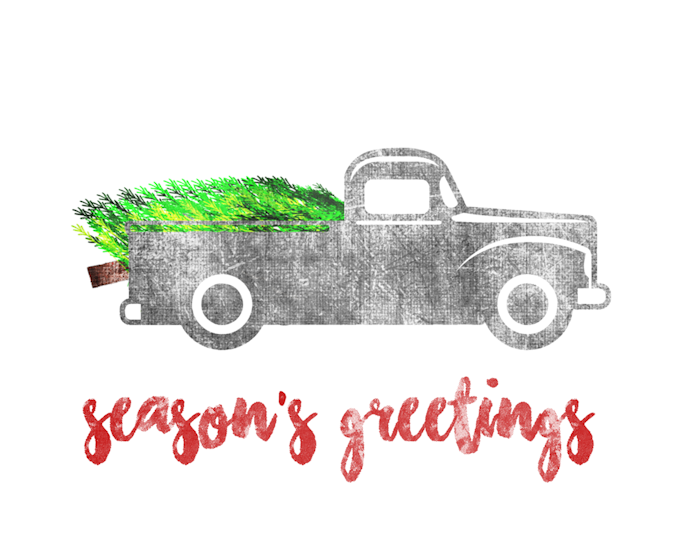 Old truck with christmas tree in back clipart png graphic black and white stock Free Vintage Christmas Signs - The Girl Creative graphic black and white stock