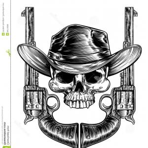 Old west sun black and white clipart jpg free download Mascot Of The Wild West With Skull Bison And Revolvers In ... jpg free download