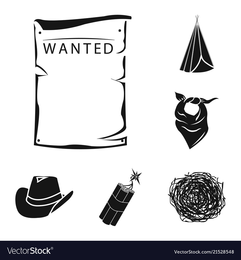 Old west sun black and white clipart banner black and white stock Attributes of the wild west black icons in set vector image on VectorStock banner black and white stock