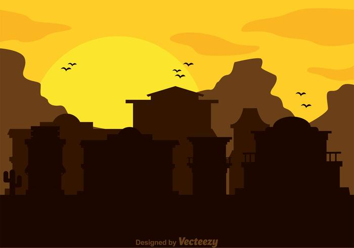 Old west sunrise black and white clipart clip free Old Western Town Silhouette Vector - Download Free Vectors ... clip free