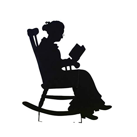 Old woman clipart black and white rocker clip royalty free download Collections Etc Charming Rocking Chair Shadow Figure Yard Stakes, Grandma clip royalty free download