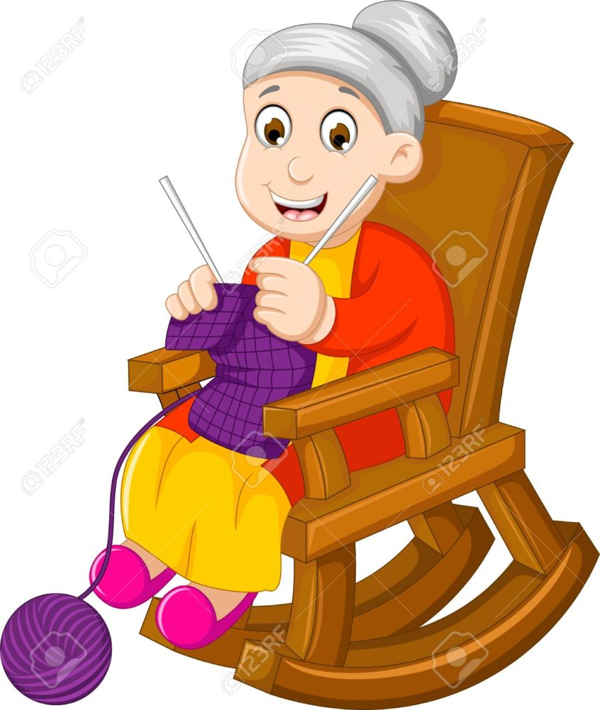 Old woman clipart black and white rocker png transparent stock Rocking Chair: Funny Grandmother Cartoon Knitting In Rocking ... png transparent stock