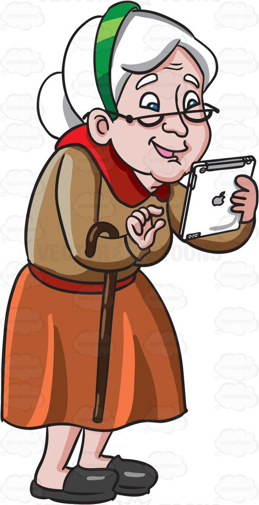 Old woman clipart free clip library library An Old Woman Playing Games In Her Mobile Tablet Cartoon ... clip library library