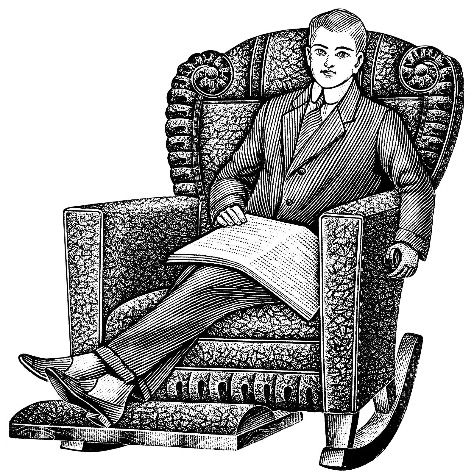 Recliner chair vector clipart black and white graphic freeuse stock black and white clipart, old catalogue listing, vintage recliner ... graphic freeuse stock