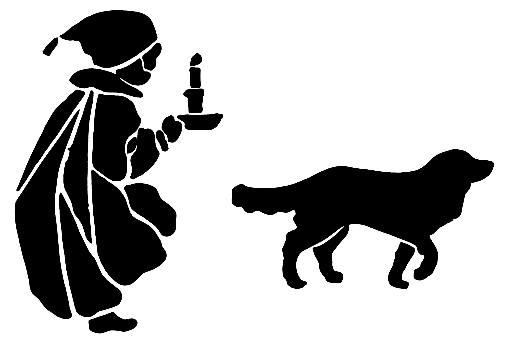 Older boy with dog black and white clipart png black and white library Silhouettes Archives - Old Design Shop Blog png black and white library