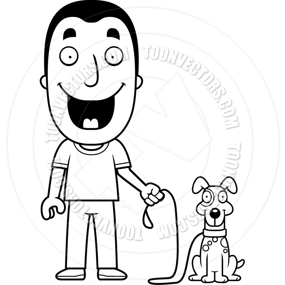 Older boy with dog black and white clipart clip art free download Man Walking Dog Clipart | Free download best Man Walking Dog ... clip art free download