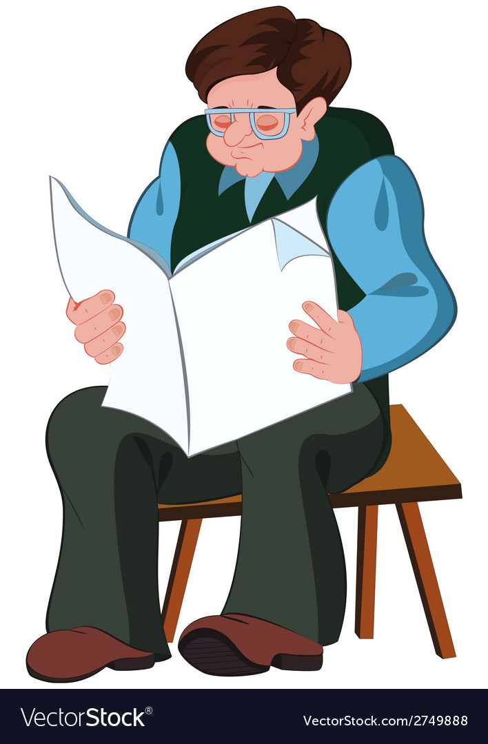 Older man reading clipart clip art free download Cartoon old man reading newspaper clip art free download
