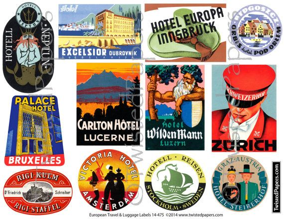 Oldtime european travel stickers on suitcases clipart graphic library European LUGGAGE STICKERS Vintage Travel Luggage by ... graphic library