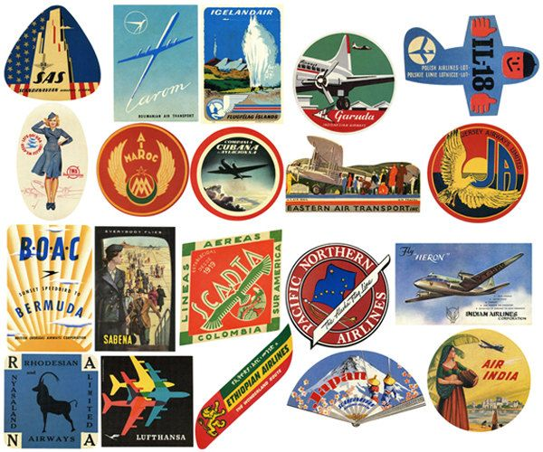 Oldtime european travel stickers on suitcases clipart clip royalty free 20 Vintage Airline Luggage Labels Air Travel Digital ... clip royalty free