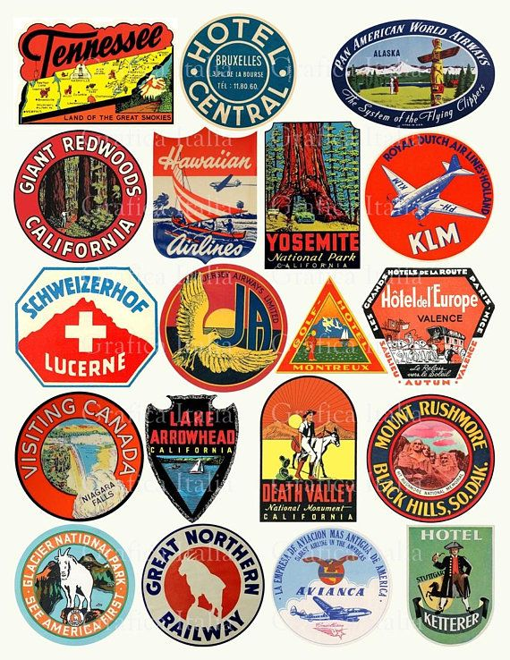 Oldtime european travel stickers on suitcases clipart clipart free stock Travel Luggage Labels Clipart - Retro Digital Printable ... clipart free stock